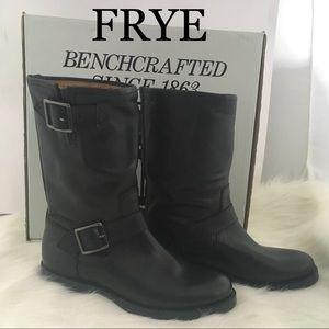 Frye Natalie Mid Engineer Black Boots 6.5